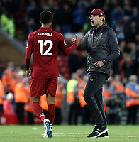 Liverpool manager Jurgen Klopp greets Joe Gomez at the final whistle<br /> <br /> Photographer Rich Linley/CameraSport<br /> <br /> The Premier League - Liverpool v Manchester City - Sunday 7th October 2018 - Anfield - Liverpool<br /> <br /> World Copyright &copy; 2018 CameraSport. All rights reserved. 43 Linden Ave. Countesthorpe. Leicester. England. LE8 5PG - Tel: +44 (0) 116 277 4147 - admin@camerasport.com - www.camerasport.com