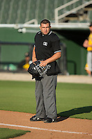 Home plate umpire Jonathan Parra between innings of the South Atlantic League game between the West Virginia Power and the Kannapolis Intimidators at CMC-Northeast Stadium on April 21, 2015 in Kannapolis, North Carolina.  The Power defeated the Intimidators 5-3 in game one of a double-header.  (Brian Westerholt/Four Seam Images)