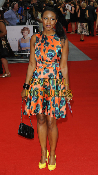 Beverley Knight<br /> The World Premiere of 'Diana', Odeon Leicester Square, London, England.<br /> 5th September 2013<br /> film arrivals full length yellow shoes orange blue green floral flower print dress ponytail <br /> CAP/CAN<br /> &copy;Can Nguyen/Capital Pictures