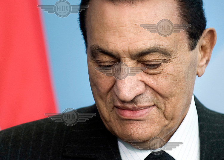Mohamed Hosni Mubarak, president of Egypt, at a press call.