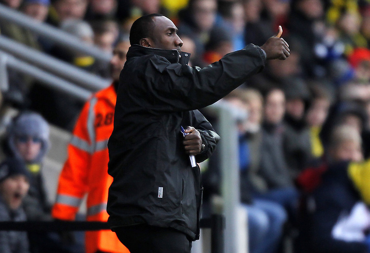 Burton Albion's Manager Jimmy Floyd Hasselbaink gives the thumbs up<br /> <br /> Photographer Mick Walker/CameraSport<br /> <br /> Football - The Football League Sky Bet League Two - Burton Albion v Bury	 - Saturday 31st January 2015 - Pirelli Stadium - Burton upon Trent<br /> <br /> &copy; CameraSport - 43 Linden Ave. Countesthorpe. Leicester. England. LE8 5PG - Tel: +44 (0) 116 277 4147 - admin@camerasport.com - www.camerasport.com