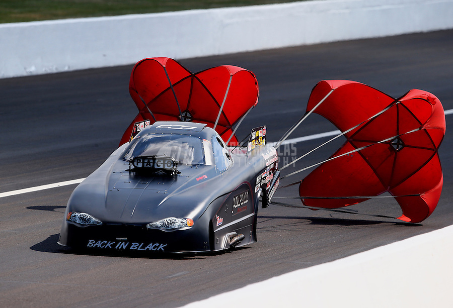 Aug. 30, 2013; Clermont, IN, USA: NHRA top alcohol funny car driver Dan Pompeno Jr during qualifying for the US Nationals at Lucas Oil Raceway. Mandatory Credit: Mark J. Rebilas-
