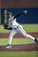 Michigan Wolverines pitcher Angelo Smith (40) delivers a pitch to the plate against the San Jose State Spartans on March 27, 2019 in Game 2 of the NCAA baseball doubleheader at Ray Fisher Stadium in Ann Arbor, Michigan. Michigan defeated San Jose State 3-0. (Andrew Woolley/Four Seam Images)