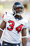 1 November 2009: Houston Texans' safety Dominique Barber looks up at the scoreboard from the bench during a game against the Buffalo Bills at Ralph Wilson Stadium in Orchard Park, New York, USA. The Texans defeated the Bills 31-10. Mandatory Credit: Ed Wolfstein Photo