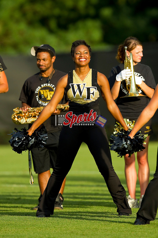 The Wake Forest dance team was on hand to help fire up the crowd prior to the men's soccer match against the Wofford Terriers at Spry Soccer Stadium on August 25, 2012 in Winston-Salem, North Carolina.  The Demon Deacons defeated the Terriers 1-0.  (Brian Westerholt/Sports On Film)