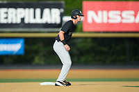 Jake Mueller (6) of the Wake Forest Demon Deacons takes his lead off of second base against the West Virginia Mountaineers in Game Six of the Winston-Salem Regional in the 2017 College World Series at David F. Couch Ballpark on June 4, 2017 in Winston-Salem, North Carolina.  The Demon Deacons defeated the Mountaineers 12-8.  (Brian Westerholt/Four Seam Images)