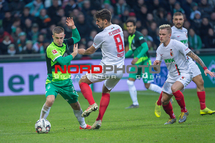 10.02.2019, Weser Stadion, Bremen, GER, 1.FBL, Werder Bremen vs FC Augsburg, <br /> <br /> DFL REGULATIONS PROHIBIT ANY USE OF PHOTOGRAPHS AS IMAGE SEQUENCES AND/OR QUASI-VIDEO.<br /> <br />  im Bild<br /> Rani Khedira (FC Augsburg #08)<br /> Johannes Eggestein (Werder Bremen #24)<br /> <br /> <br /> Foto © nordphoto / Kokenge