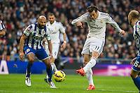 Real Madrid´s Gareth Bale and Deportivo de la Coruna's Manuel Pablo during 2014-15 La Liga match between Real Madrid and Deportivo de la Coruna at Santiago Bernabeu stadium in Madrid, Spain. February 14, 2015. (ALTERPHOTOS/Luis Fernandez) /NORTEphoto.com
