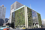 Exterior of the Pasona Building, showing plants and trees on the outside surface of the building, in Otemachi district central Tokyo<br />