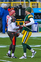 Tampa Bay Buccaneers kicker Patrick Murray (7) and Green Bay Packers kicker Mason Crosby (2) during a National Football League game on December 2nd, 2017 at Lambeau Field in Green Bay, Wisconsin. Green Bay defeated Tampa Bay 26-20. (Brad Krause/Krause Sports Photography)