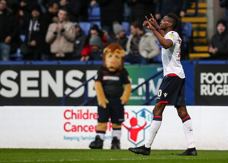 Bolton Wanderers' Sammy Ameobi celebrates scoring his side's first goal <br /> <br /> Photographer Andrew Kearns/CameraSport<br /> <br /> The EFL Sky Bet Championship - Bolton Wanderers v Rotherham United - Wednesday 26th December 2018 - University of Bolton Stadium - Bolton<br /> <br /> World Copyright © 2018 CameraSport. All rights reserved. 43 Linden Ave. Countesthorpe. Leicester. England. LE8 5PG - Tel: +44 (0) 116 277 4147 - admin@camerasport.com - www.camerasport.com