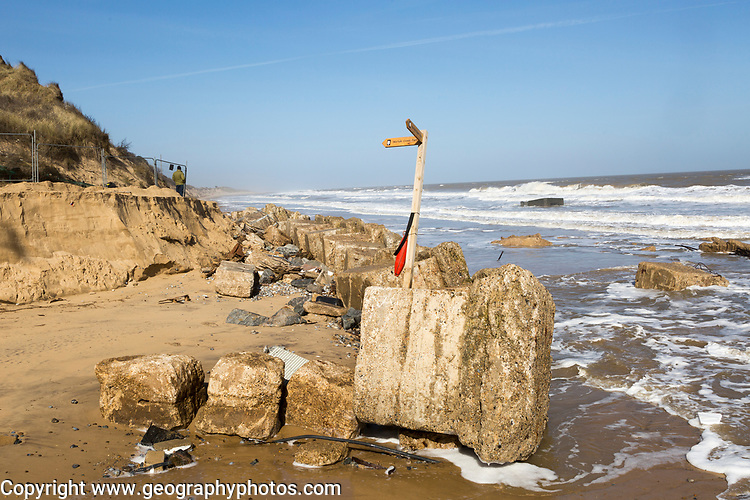 March 20 2018 Hemsby, UK. Coast path sign left abandoned by coastal erosion at Hemsby, Norfolk, England, UK