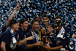SAN ANTONIO, TX - APRIL 02: Jalen Brunson #1 of the Villanova Wildcats celebrates with teammates after the 2018 NCAA Men's Final Four National Championship game against the Michigan Wolverines at the Alamodome on April 2, 2018 in San Antonio, Texas.  (Photo by Chris Steppig/NCAA Photos via Getty Images)
