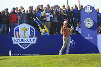 Alex Noren (Team Europe) on the 10th tee during Saturday Foursomes at the Ryder Cup, Le Golf National, Ile-de-France, France. 29/09/2018.<br /> Picture Thos Caffrey / Golffile.ie<br /> <br /> All photo usage must carry mandatory copyright credit (&copy; Golffile | Thos Caffrey)
