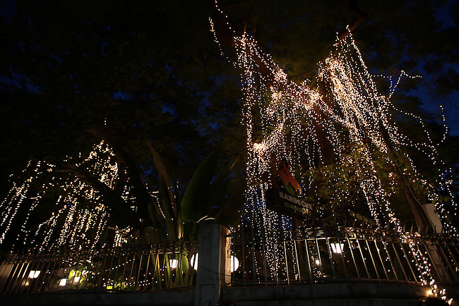 Lights strung in trees cascade like vines outside of a restaurant in District 1 in Ho Chi Minh City, Vietnam. Aug. 11, 2011.