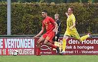 20190927 - WOLVERTEM , BELGIUM : Belgian Sami Sakkali (L) and Ukraine's Oleh Chuiko (R) pictured during the friendly  soccer match between  under 16 teams of  Belgium and Ukraine , in Wolvertem , Belgium . Thursday 26 th September 2019 . PHOTO SPORTPIX.BE / DIRK VUYLSTEKE