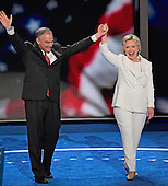 United States Senator Tim Kaine (Democrat of Virginia) and Hillary Clinton, the Democratic Party nominee for President and Vice President of the United States, on the podium after her acceptance speech during the fourth session of the 2016 Democratic National Convention at the Wells Fargo Center in Philadelphia, Pennsylvania on Thursday, July 28, 2016.<br /> Credit: Ron Sachs / CNP<br /> (RESTRICTION: NO New York or New Jersey Newspapers or newspapers within a 75 mile radius of New York City)