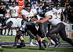 November 4, 2017:  Army West Point quarterback, Ahmad Bradshaw #17, hands off during the NCAA Football game between the Army West Point Black Knights and the Air Force Academy Falcons at Falcon Stadium, United States Air Force Academy, Colorado Springs, Colorado.  Army West Point defeats Air Force 21-0.