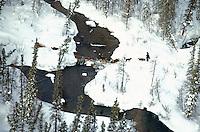 Team Crosses Creek in Farewell Burn '90 Iditarod
