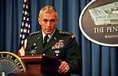 General Wesley Clark, United States Army, Supreme Allied Commander Europe SACEUR), briefing the Pentagon press September 3, 1997, on the current situation in Bosnia and Herzegovina.  .Mandatory Credit: Robert D. Ward - DoD via CNP                                                                      .