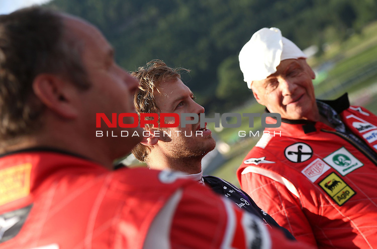Sebastian Vettel (GER), Red Bull Racing - Niki Lauda (AUT) 3x F1 World Champion, Mercedes-Benz non-executive chairman of the board of directors<br /> for the complete Middle East, Austria &amp; Germany Media usage only!<br />  Foto &copy; nph / Mathis