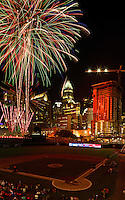 Fireworks from Skyshow Charlotte  2016 explode over BB&amp;T Ballpark against the backdrop of the Charlotte NC skyline as the city celebrated the July 4th holiday in 2016. Photographer has fireworks celebrations in Charlotte from multiple years. The collection of Charlotte NC fireworks photos show different perspectives and weather conditions.<br /> <br /> Charlotte Photographer - PatrickSchneiderPhoto.com