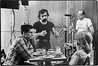 Taxi Driver (1976)<br /> Behind the scenes photo of Robert De Niro &amp; Martin Scorsese<br /> *Filmstill - Editorial Use Only*<br /> CAP/KFS<br /> Image supplied by Capital Pictures