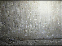 BNPS.co.uk (01202 558833)<br /> Pic: PhilYeomans/BNPS<br /> <br /> Living history, Steve thinks this one was done in 2015.<br /> <br /> Salisbury Cathedral has taken the unusual step of launching 'Grafitti Tours' of it's 800 year old building, as part of a three year project to document the thousands of examples of centuries-old 'graffiti' which adorn the walls of the 13th century cathedral.<br /> <br /> The inside of the Cathedral in Wiltshire is covered in markings etched into its fabric by fervent, desperate or just bored visitors ranging from simple inscriptions to more intricate designs used to ward off evil spirits.  <br /> <br /> Cathedral guide Steve Dunn intends to record all the marks or 'graffiti' which in some cases date back from when the cathedral was completed in 1258.<br /> <br /> Helped by about 60 volunteers, he is collating images of the graffiti and researching the story behind them.