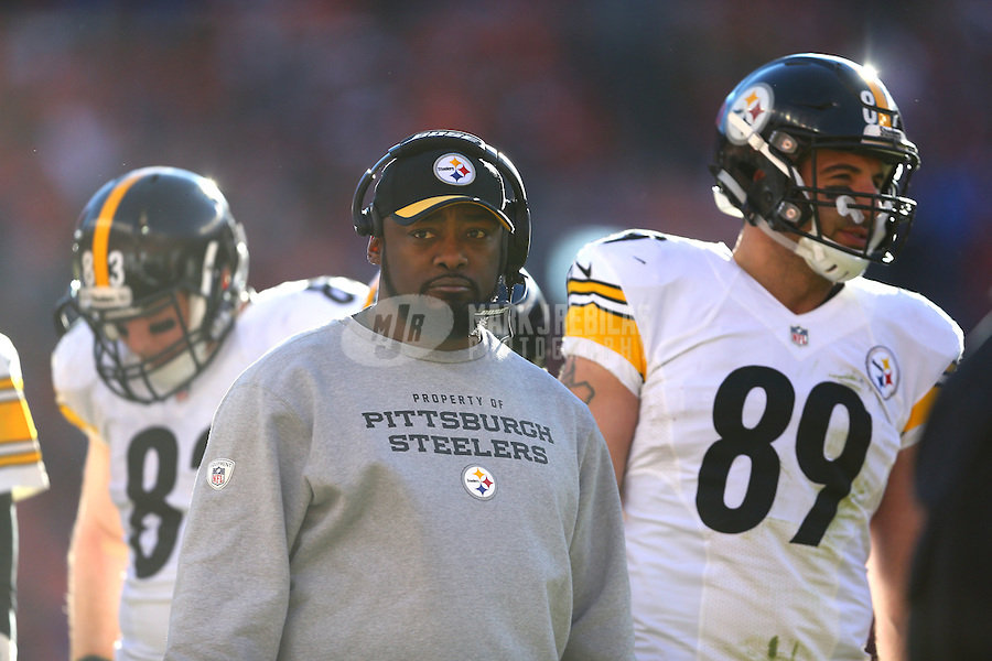 Jan 17, 2016; Denver, CO, USA; Pittsburgh Steelers head coach Mike Tomlin against the Denver Broncos during the AFC Divisional round playoff game at Sports Authority Field at Mile High. Mandatory Credit: Mark J. Rebilas-USA TODAY Sports