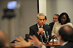 Rahm Emanuel appears on the witness stand for questioning by attorney Burt Odelson, representing objectors to Emanuel's candidacy for Chicago mayor, in a basement Chicago Board of Elections conference room in Chicago, Illinois on December 14, 2010.