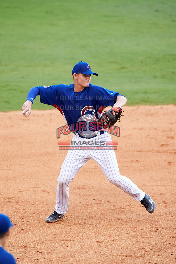 Logan Goodnight (52) of Linsly High School in Wheeling, West Virginia playing for the Chicago Cubs scout team during the East Coast Pro Showcase on July 29, 2015 at George M. Steinbrenner Field in Tampa, Florida.  (Mike Janes/Four Seam Images)
