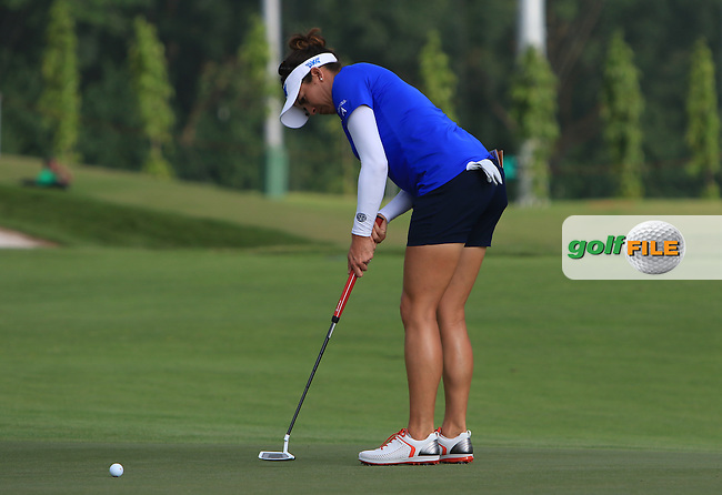 Gerina Piller (USA) on the 11th green during Round 2 of the HSBC Women's Champions on Friday 3rd March 2017.<br /> Picture:  Thos Caffrey / Golffile