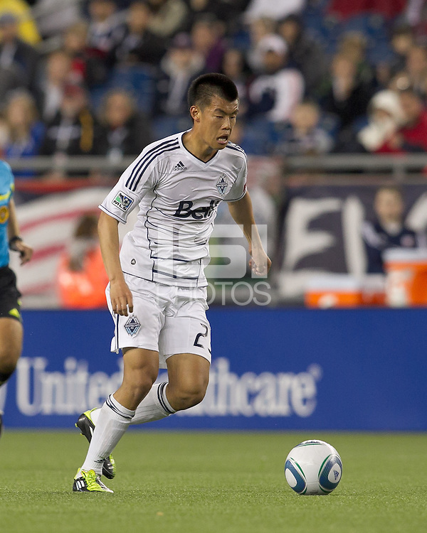 Vancouver Whitecaps FC forward Long Tan (23) at midfield. In a Major League Soccer (MLS) match, the New England Revolution defeated the Vancouver Whitecaps FC, 1-0, at Gillette Stadium on May14, 2011.