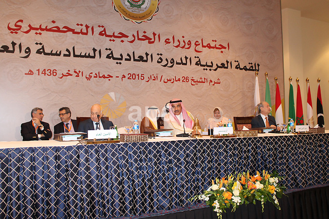 Kuwait's First Deputy Prime Minister and Minister of Foreign Affairs Sheikh Sabah Al-Khaled Al-Hamad Al-Sabah, center, chairs a meeting a meeting of Arab foreign ministers in the Egyptian Red Sea resort of Sharm El-Sheikh on March 26, 2015, ahead of the annual Arab League summit. The foreign ministers of Egypt and Kuwait said it was necessary to intervene in Yemen after Huthi rebels threatened the southern port of Aden. Both countries had expressed support for Saudi-led air strikes overnight against the Iran-backed rebels. Photo by Stringer