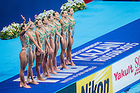 Team People's Republic of China CHN<br /> Silver Medal<br /> Synchro Women's Team Free Final Free Routine - Kazan Arena<br /> Day08 31/07/2015<br /> XVI FINA World Championships Aquatics Swimming<br /> Kazan Tatarstan RUS July 24 - Aug. 9 2015 <br /> Photo A.Masini/Deepbluemedia/Insidefoto