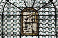 St Antoine de Padoue (St Anthony of Padua), stained glass window, chapelle St Antoine de Padoue, (Chapel of St Anthony of Padua), Eglise Saint-Sulpice (St Sulpitius' Church), c.1646-1745, late Baroque church on the Left Bank, Paris, France. Picture by Manuel Cohen