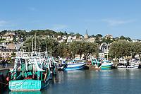 France, Calvados (14), Trouville-sur-Mer, port de pêche de Deauville, Trouville derrière // France, Calvados, Trouville-sur-Mer, fishing port of Deauville, Trouville behind