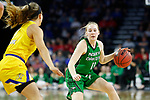 SIOUX FALLS, SD - MARCH 7: Kacie Borowicz #11 of the North Dakota Fighting Hawks drives the ball up the court against Lindsey Theuninck #3 of the South Dakota State Jackrabbits at the 2020 Summit League Basketball Championship in Sioux Falls, SD. (Photo by Richard Carlson/Inertia)