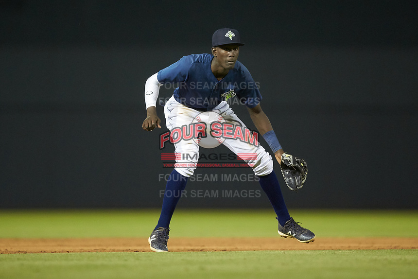 Columbia Fireflies shortstop Ronny Mauricio (2) on defense against the Rome Braves at Segra Park on May 13, 2019 in Columbia, South Carolina. The Fireflies defeated the Braves 6-1 in game two of a doubleheader. (Brian Westerholt/Four Seam Images)