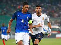 Raphael Varane and Graziano Pelle during the  friendly  soccer match,between Italy  and  France   at  the San  Nicola   stadium in Bari Italy , September 01, 2016<br /> <br /> amichevole di calcio tra le nazionali di Italia e Francia