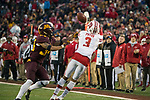 Wisconsin Badgers wide receiver Kendric Pryor (3) catches a pass near the sideline during an NCAA College Big Ten Conference football game against the Minnesota Golden Gophers Saturday, November 25, 2017, in Minneapolis, Minnesota. The Badgers won 31-0. (Photo by David Stluka)