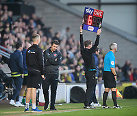Fleetwood Town manager Joey Barton reacts as fourth official Billy Smallwood indicated six additional minutes at the end of the game<br /> <br /> Photographer Chris Vaughan/CameraSport<br /> <br /> The EFL Sky Bet League One - Saturday 23rd February 2019 - Burton Albion v Fleetwood Town - Pirelli Stadium - Burton upon Trent<br /> <br /> World Copyright © 2019 CameraSport. All rights reserved. 43 Linden Ave. Countesthorpe. Leicester. England. LE8 5PG - Tel: +44 (0) 116 277 4147 - admin@camerasport.com - www.camerasport.com