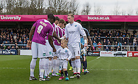 Goalkeeper Ryan Allsop (Loanee from Bournemouth) of Wycombe Wanderers shakes hands with Barnet players during the Sky Bet League 2 match between Wycombe Wanderers and Barnet at Adams Park, High Wycombe, England on 16 April 2016. Photo by Andy Rowland.