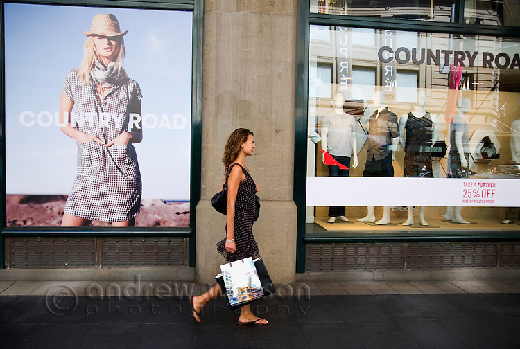 Shopper in central Sydney, New South Wales, AUSTRALIA.