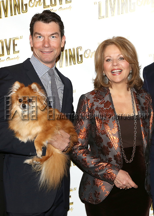 Jerry O'Connell and Renee Flemming attends the 'Living on Love' photo call at the Empire Hotel on March 12, 2015 in New York City.