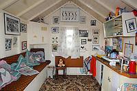 Inside beach hut at Chapel Point, Chapel St Leonards, Lincolnshire.