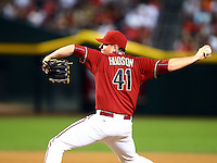 Jun 17, 2015; Phoenix, AZ, USA; Arizona Diamondbacks pitcher Daniel Hudson against the Los Angeles Angels during an interleague game at Chase Field. Mandatory Credit: Mark J. Rebilas-USA TODAY Sports