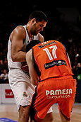 25th March 2018, Madrid, Spain; Endesa Basketball League, Real Madrid versus Valencia; Felipe Reyes (Real Madrid Baloncesto) struggles to hold the ball away from Rafa Martinez (Valencia Basket)