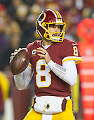 Washington Redskins quarterback Kirk Cousins (8) looks for a received in first quarter action against the Washington Redskins at FedEx Field in Landover, Maryland on Thursday, November 23, 2017.<br /> Credit: Ron Sachs / CNP<br /> (RESTRICTION: NO New York or New Jersey Newspapers or newspapers within a 75 mile radius of New York City)