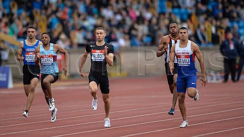 26.06.2016. Alexander Stadium, Birmingham, England. British Athletics Championships. Adam Gemini leads Danny Talbot to win the 200m.